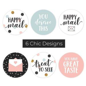 """60pcs 1.5"""" Happy Mail Thank You Stickers 6 Designs"""